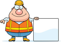 Cartoon Road Worker Sign. A cartoon illustration of a road worker with a sign Royalty Free Stock Photo