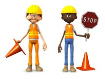 Cartoon road workers. Royalty Free Stock Images