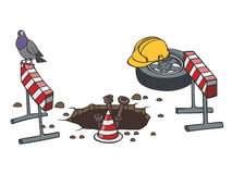 Cartoon road works. Marked with red and white striped road warning posts  and barrier with no access sign Stock Photos