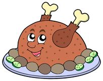 Cartoon roast meat. Vector illustration Royalty Free Stock Photo