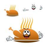 Cartoon roasted chicken leg on dish Stock Photo