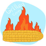 Cartoon the roasted corn. Vector illustration of barbecue corn on a background of fire. Cartoon the roasted corn. Vector illustrationis ready to work Royalty Free Stock Images