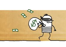 Cartoon robber running away with dollar pack Royalty Free Stock Photos