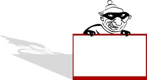 Cartoon Robber with Sign. In black white and red  art Stock Photos