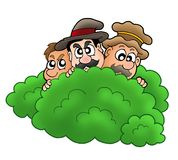 Cartoon robbers behind bush Stock Images