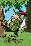 Cartoon Robin Hood in the woods Stock Images
