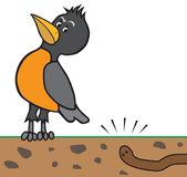 Cartoon Robin Listening to Worm. A cartoon robin is listening carefully to an earthworm digging underground Royalty Free Stock Photos
