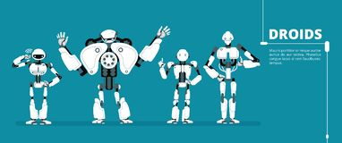 Cartoon robot android, cyborg group. Artificial intelligence vector futuristic background. Ai robotic, cyber and cyborg robot, android humanoid machine vector illustration