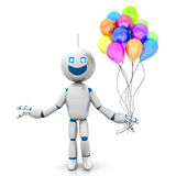 Cartoon Robot with Balloons. A happy cartoon Robot with a bunch of Balloons. 3D rendered Illustration Royalty Free Stock Photo