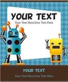 Cartoon robot card. Drawing Stock Photography