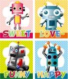 Cartoon robot card. Vector drawing Stock Images