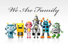 Cartoon robot card Stock Photo