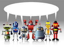Cartoon robot card Royalty Free Stock Images