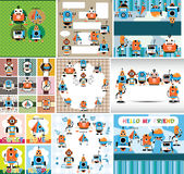 Cartoon robot card Stock Photography