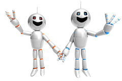 Cartoon Robot couple. A cartoon couple holding hands and waving arms. 3d rendered Illustration stock illustration