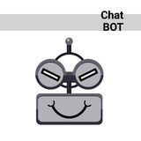 Cartoon Robot Face Cunning Cute Emotion Chat Bot Icon. Flat Vector Illustration Stock Photo