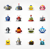 Cartoon robot face icon , web icon set -. Drawing Royalty Free Stock Image