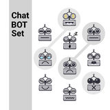 Cartoon Robot Face Smiling Cute Emotion Negative Chat Bot Icon Set Stock Image