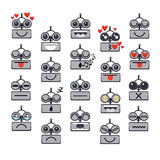 Cartoon Robot Face Smiling Cute Emotion Negative And Positive Chat Bot Icon Set. Flat Vector Illustration Stock Photos