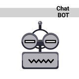 Cartoon Robot Face Smiling Cute Emotion Neutral Chat Bot Icon Stock Photo