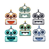 Cartoon Robot Face Smiling Cute Emotion Open Mouth Chat Bot Icon Set Royalty Free Stock Photos
