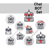 Cartoon Robot Face Smiling Cute Positive Emotion Chat Bot Icon Set Royalty Free Stock Photography