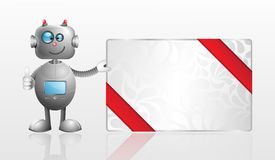 Cartoon Robot with gift card Stock Photo