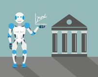Cartoon Robot Graph Stock Exchange Royalty Free Stock Image