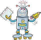 Cartoon robot holding a paper and a pencil Royalty Free Stock Photos