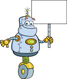 Cartoon robot holding a sign. Royalty Free Stock Images