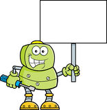 Cartoon robot holding a wrench and a sign. Stock Images