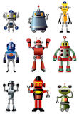 Cartoon robot icon set. Drawing Stock Image