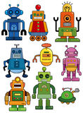 Cartoon robot icon set. Drawing Stock Images
