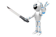 Cartoon Robot with a kitchen Knife Stock Image