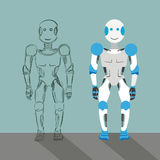 Cartoon Robot With Sketch Royalty Free Stock Images
