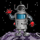 Cartoon robot in space Royalty Free Stock Photo