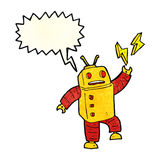 Cartoon robot with speech bubble Royalty Free Stock Photography