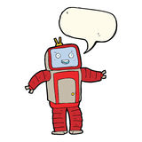 Cartoon robot with speech bubble Stock Photography