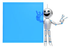 Cartoon Robot using a virtual Touchscreen Stock Images