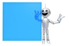 Cartoon Robot using a virtual Touchscreen Stock Images