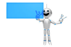 Cartoon Robot using a virtual Touchscreen Stock Photo