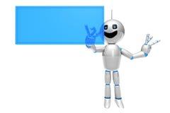 Cartoon Robot using a virtual Touchscreen. A cartoon Robot using a virtual touchscreen or Display Stock Photo