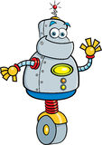 Cartoon robot waving. Royalty Free Stock Photography