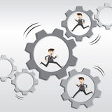 Cartoon robotic businessman running on mechanical gear Stock Images