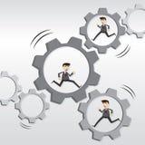 Cartoon robotic businessman running on mechanical gear Stock Images