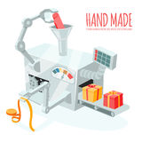 Cartoon robotic production of gift boxes Royalty Free Stock Photography