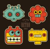 Cartoon Robots And Monsters Faces In Color. Stock Photo