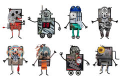 Cartoon robots - Eight characters Stock Photography