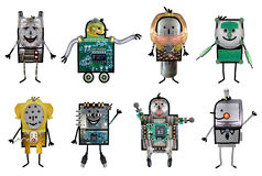 Cartoon robots - Eight characters Royalty Free Stock Image
