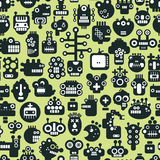 Cartoon robots faces seamless pattern. Royalty Free Stock Photo